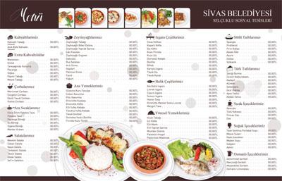 Sivas Belediyesi Selçuklu Sosyal Tesisleri Yemek Menüsü